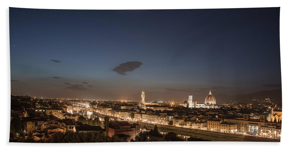 Florence Bath Towel featuring the photograph Florence Blue Hour by John McGraw