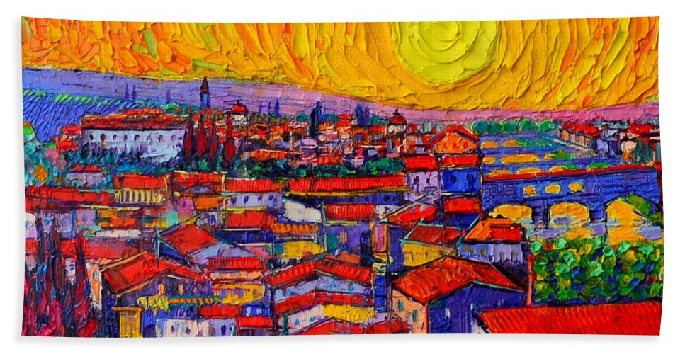 Florence Hand Towel featuring the painting Florence Sunset 10 Modern Impressionist Abstract City Knife Oil Painting Ana Maria Edulescu by Ana Maria Edulescu