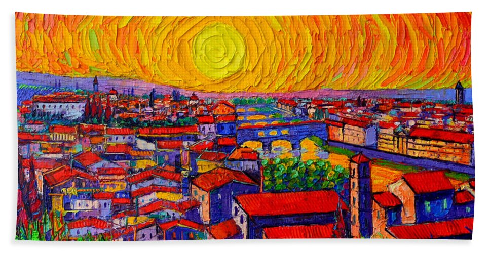 Florence Hand Towel featuring the painting Florence Sunset 12 by Ana Maria Edulescu