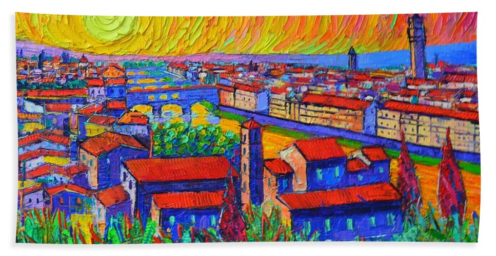 Florence Hand Towel featuring the painting Florence Sunset 4 Modern Impressionist Abstract City Impasto Knife Oil Painting Ana Maria Edulescu by Ana Maria Edulescu