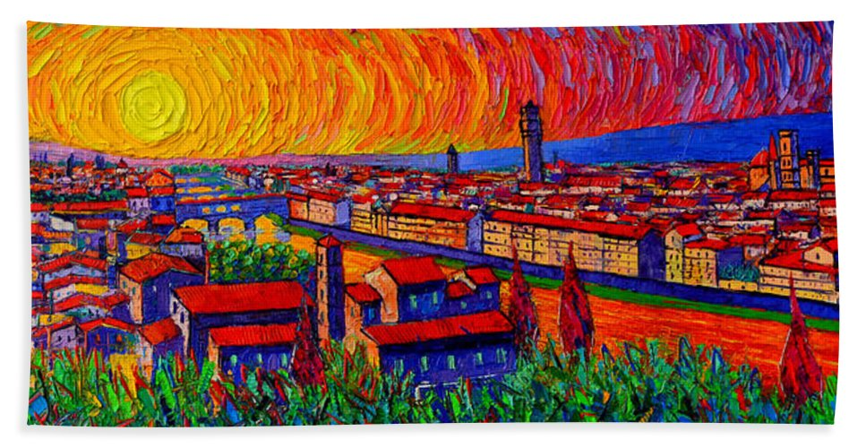 Florence Hand Towel featuring the painting Florence Sunset 9 Modern Impressionist Abstract City Impasto Knife Oil Painting Ana Maria Edulescu by Ana Maria Edulescu