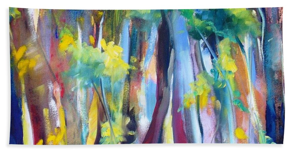 Nature Trees Leaves Landscape Forest Hand Towel featuring the painting Floresta I by Fernanda Cruz
