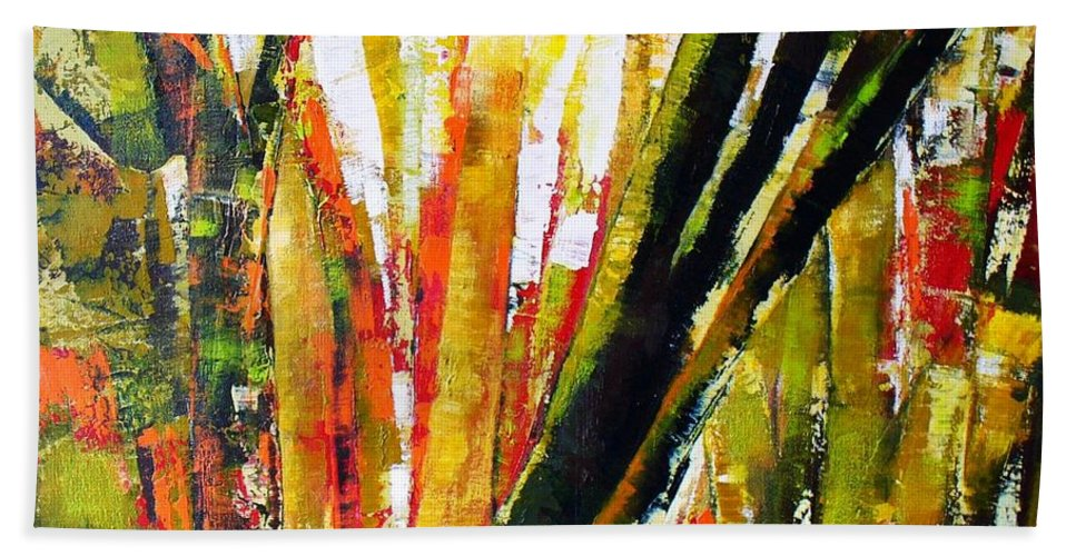 Abstract Trees Bath Sheet featuring the painting Floresta Vi by Fernanda Cruz