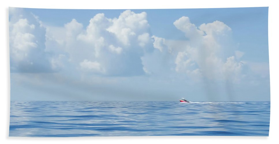 Conch Key Bath Sheet featuring the photograph Florida Keys Clouds And Ocean by Ginger Wakem