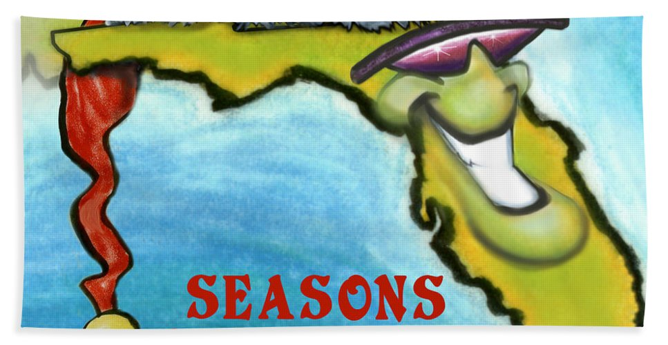 Florida Bath Sheet featuring the greeting card Florida Seasons Greetings by Kevin Middleton