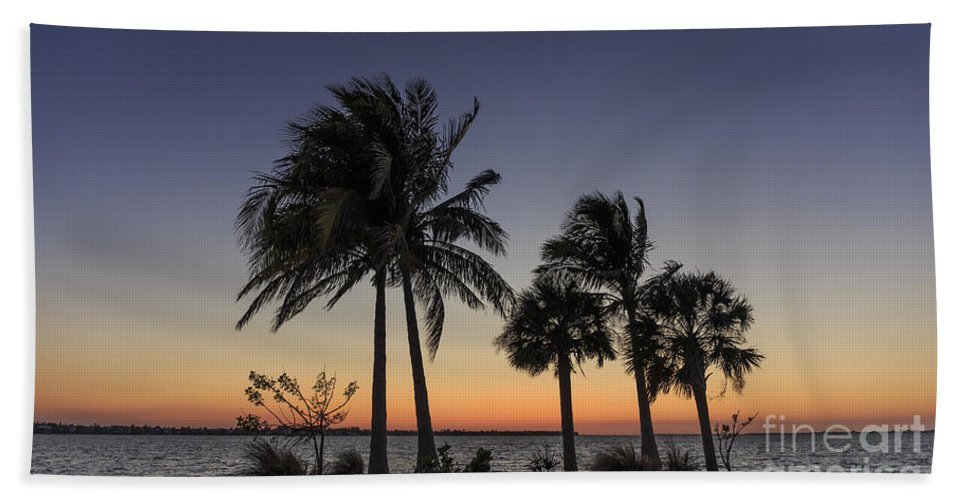 Tropical Hand Towel featuring the photograph Florida Sunset by Edward Fielding