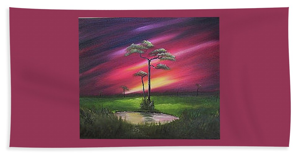 Cliffs Hand Towel featuring the painting Florida Sunset by John Johnson
