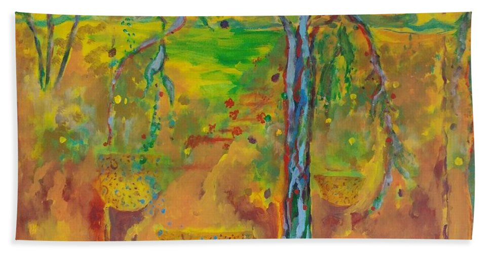 Brite Warm Colors Hand Towel featuring the painting Florida Sushine by Norma Malerich