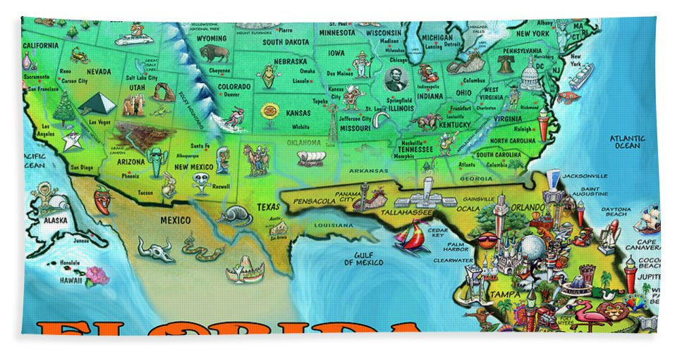 Florida Hand Towel featuring the painting Florida Usa Cartoon Map by Kevin Middleton