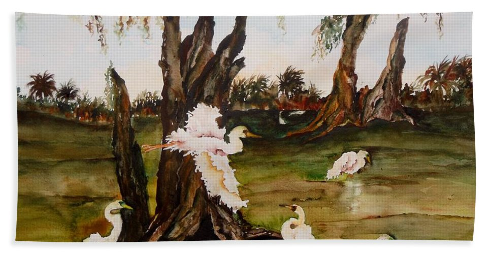 Egrets Bath Sheet featuring the painting Florida Wild by Lil Taylor