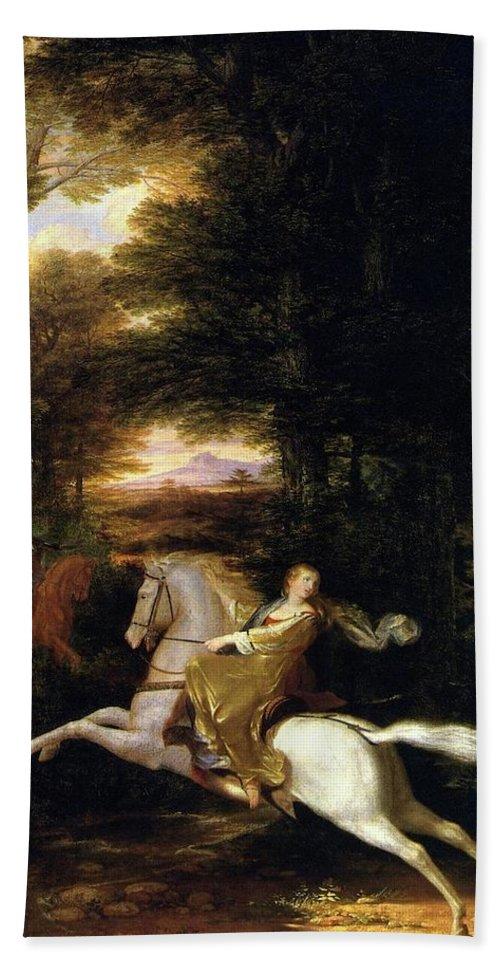 Washington Allston Bath Sheet featuring the painting Florimell Flight by Washington Allston