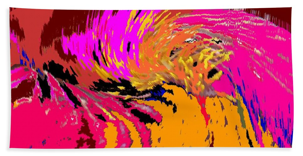 Abstract Bath Sheet featuring the digital art Flow by Ian MacDonald