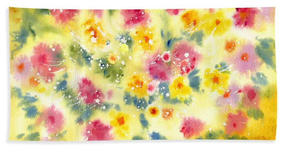 Decorative Bath Sheet featuring the painting Flower Bed by Joan Hartenstein