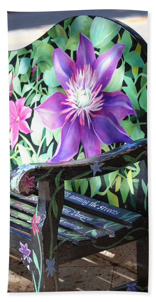 Macro Bath Sheet featuring the photograph Flower Bench by Rob Hans