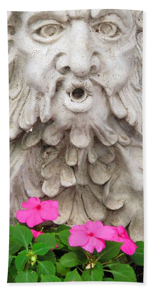Statue Bath Towel featuring the photograph Flower Blower by Ian MacDonald