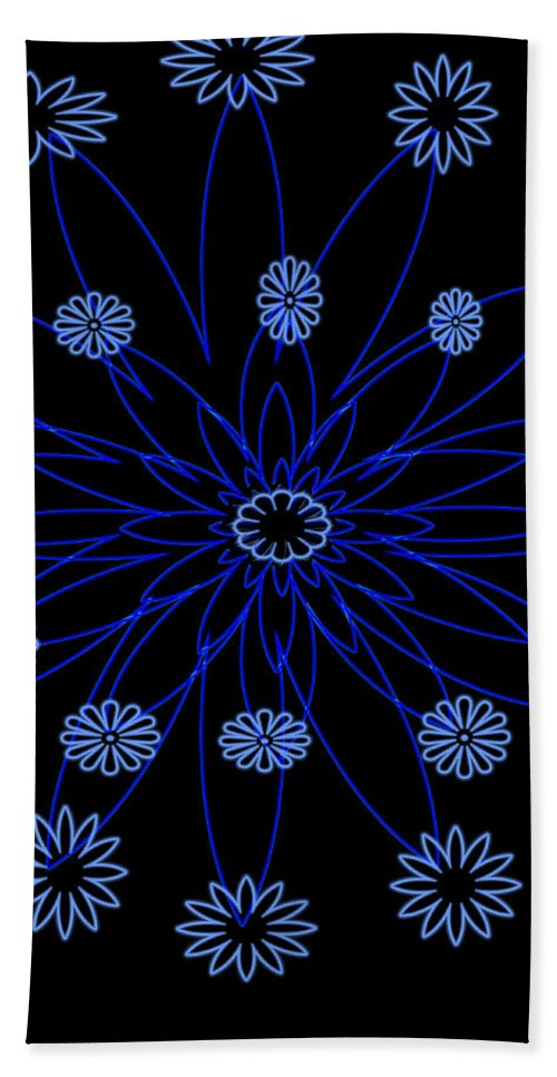 Blue Flower Hand Towel featuring the digital art Flower Blue by Andrea Lawrence