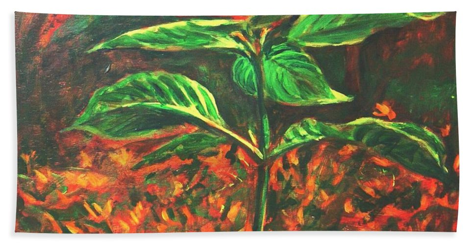 Flower Hand Towel featuring the painting Flower Branch by Usha Shantharam