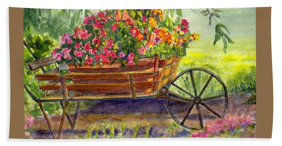 Flower Bath Sheet featuring the painting Flower Cart by Katherine Berlin