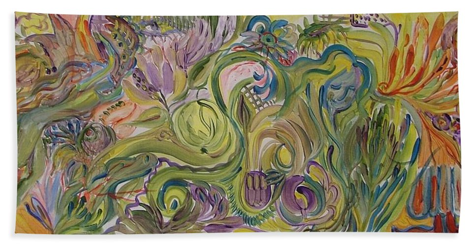 Abstract Hand Towel featuring the painting Flower Composition by Rita Fetisov