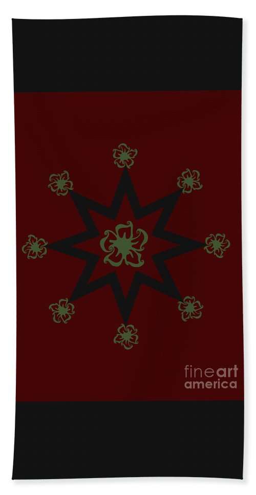Pattern Design Hand Towel featuring the digital art Star Flower - Red by Raven Steel Design