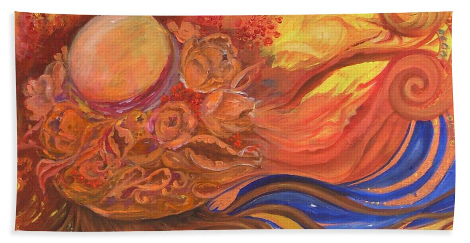Abstract Bath Towel featuring the painting Flower Dream by Rita Fetisov