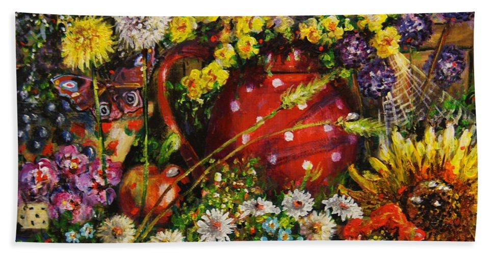 Flower Extravaganza Hand Towel featuring the painting Flower Extravaganza by Dariusz Orszulik