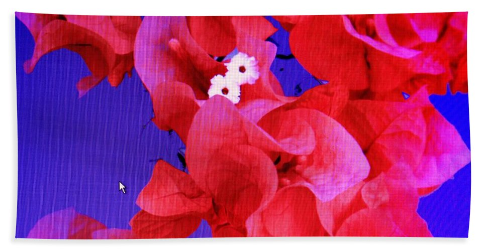 Red Bath Sheet featuring the photograph Flower Fantasy by Ian MacDonald