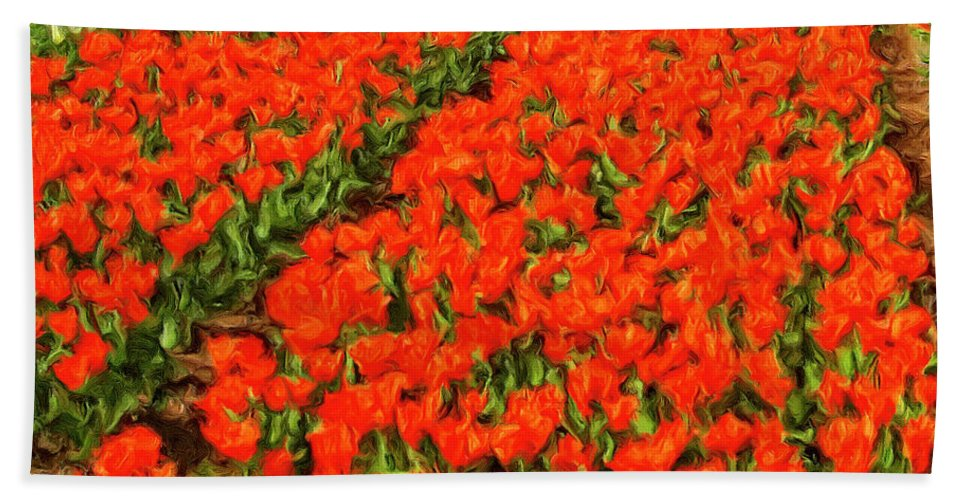 Flower Farm Hand Towel featuring the painting Flower Farm 2 by Dominic Piperata