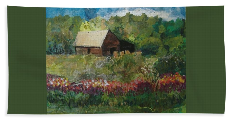 Landscape Bath Sheet featuring the mixed media Flower Farm by Pat Snook