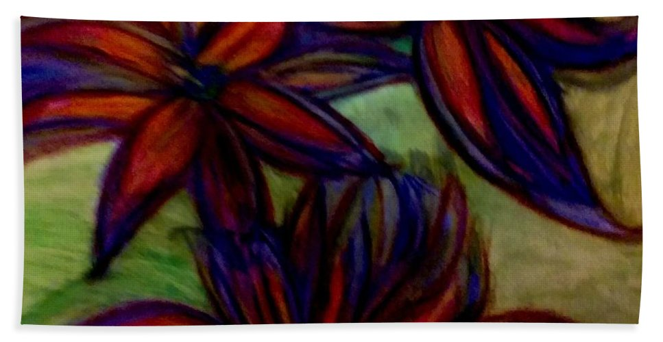 Flower Hand Towel featuring the painting Flower Flower by Stephanie Zelaya