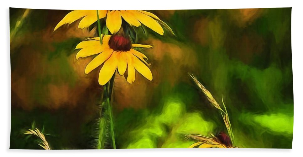 Flowers Hand Towel featuring the painting Flower Friends by Theresa Campbell