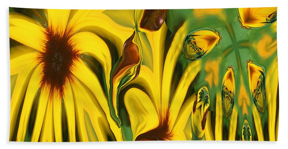 Abstract Bath Sheet featuring the photograph Flower Fun by Linda Sannuti