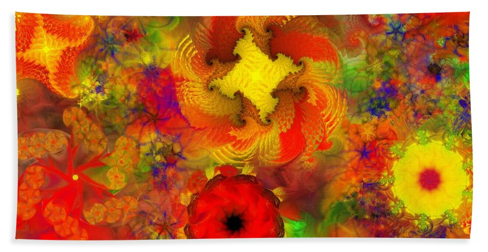 Abstract Digital Painting Bath Towel featuring the digital art Flower Garden 8-27-09 by David Lane