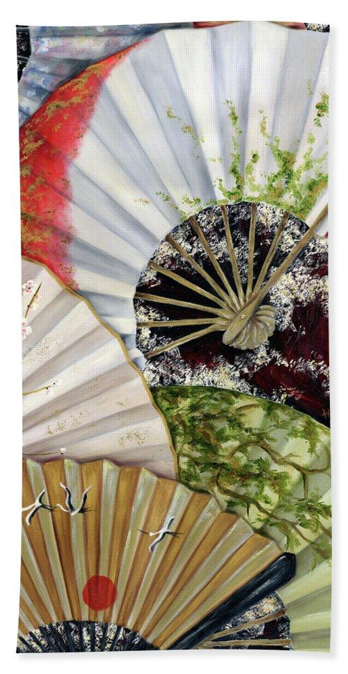 Japanese Hand Towel featuring the painting Flower Garden by Hiroko Sakai
