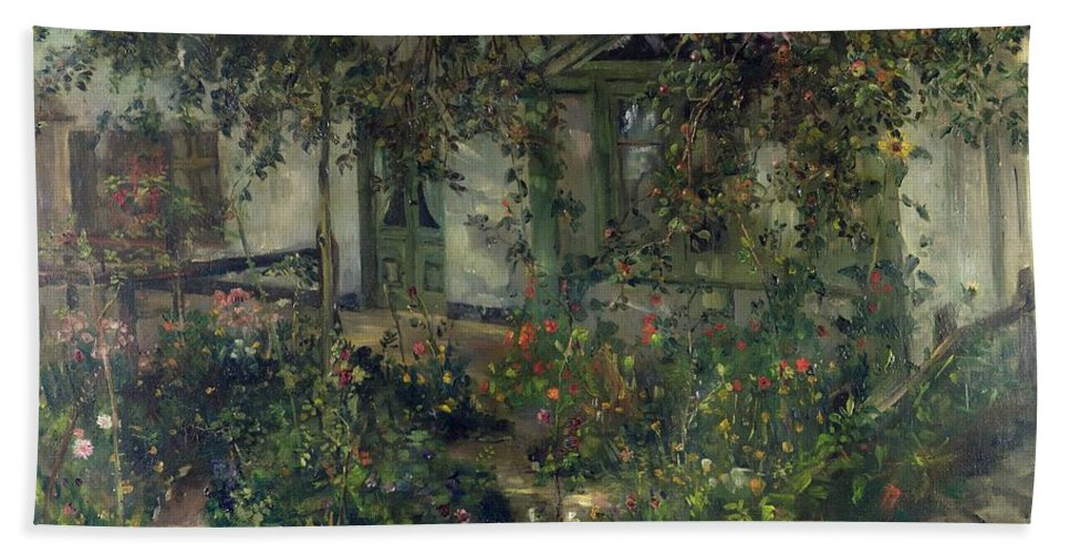 Flower Garden In Bloom Hand Towel featuring the painting Flower Garden In Bloom by Franz Heinrich Louis