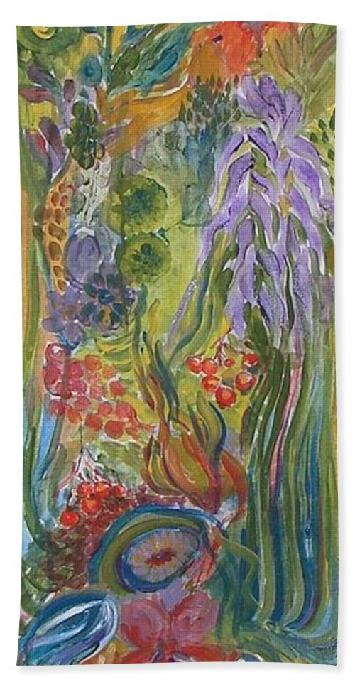 Acrylic Bath Sheet featuring the painting Flower Garden by Rita Fetisov