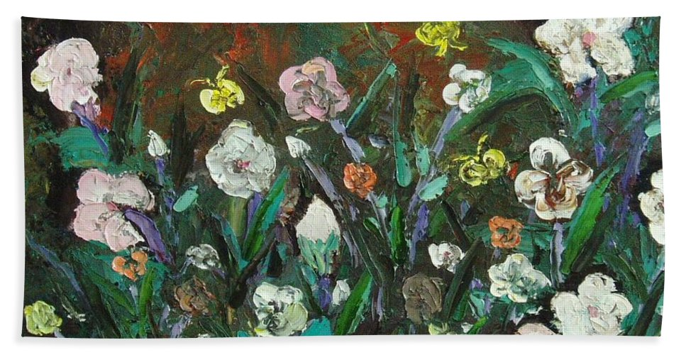 Abstract Paintings Bath Towel featuring the painting Flower Garden by Seon-Jeong Kim