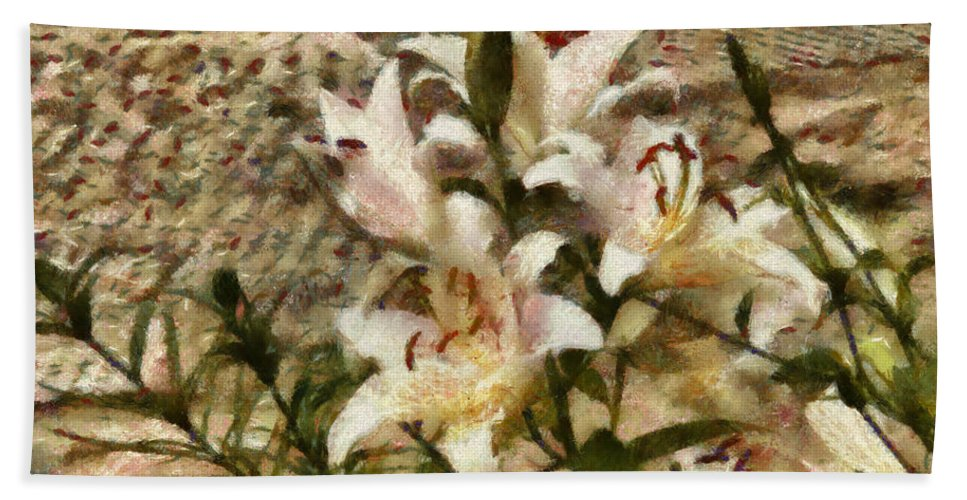 White Bath Sheet featuring the photograph Flower - Lily - White Lily by Mike Savad