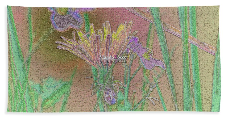 Design Bath Sheet featuring the mixed media Flower Meadow Line by Mando Xocco