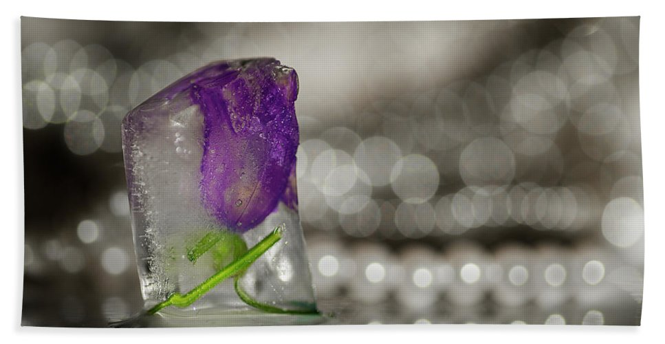 Flower Bath Sheet featuring the photograph Flower Of Ice by Jane Svensson