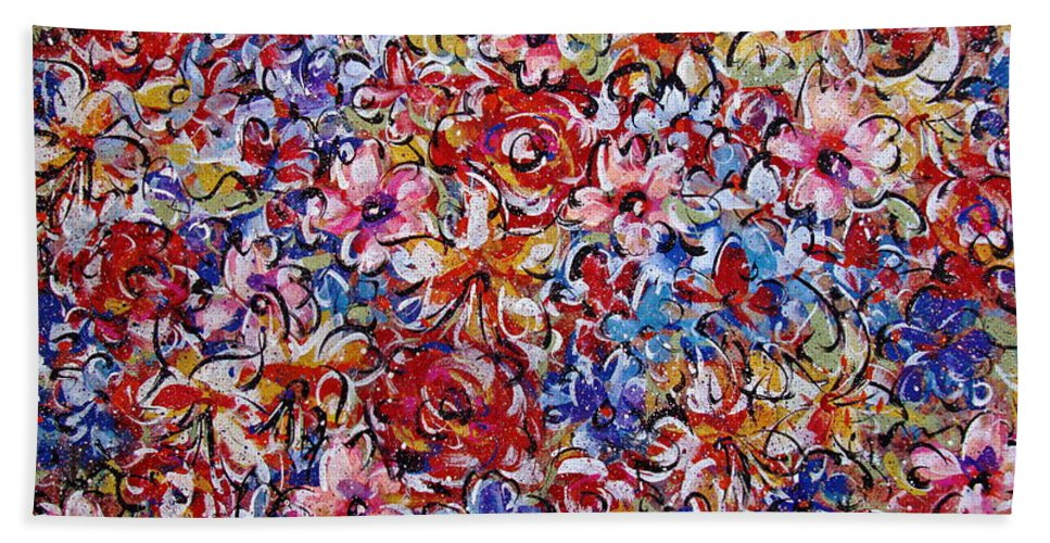 Flowers Hand Towel featuring the painting Flower Passion by Natalie Holland
