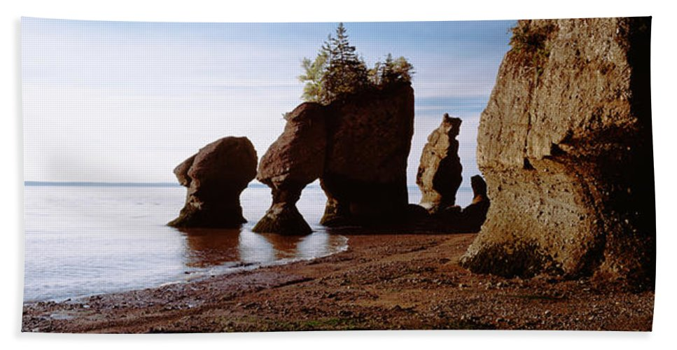 Photography Bath Sheet featuring the photograph Flower Pot Rocks On The Beach, Hopewell by Panoramic Images