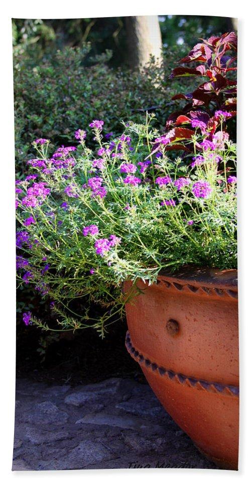 Flower Bath Sheet featuring the photograph Flower Pot by Tina Meador