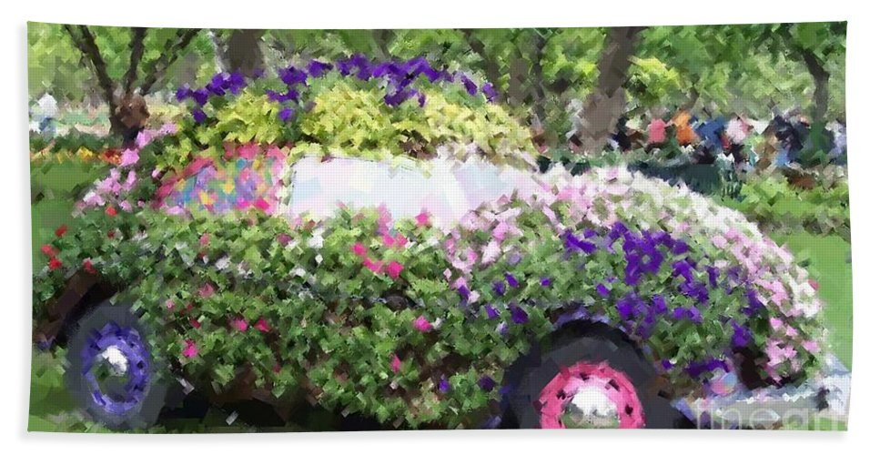 Cars Bath Towel featuring the photograph Flower Power by Debbi Granruth