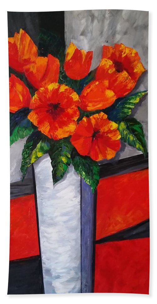 Floral Hand Towel featuring the painting Flower Power by Rosie Sherman