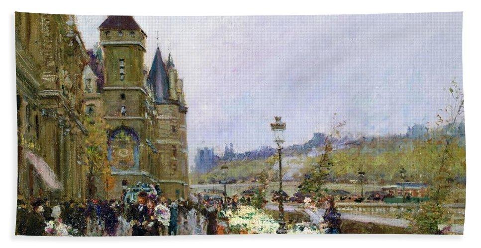 Flower Sellers By The Seine Bath Sheet featuring the painting Flower Sellers By The Seine by Georges Stein