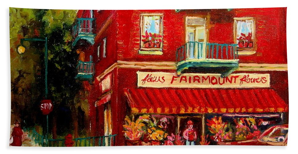 Fairmount Street Bath Towel featuring the painting Flower Shop On The Corner by Carole Spandau