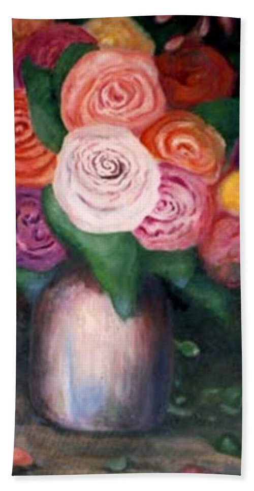 Flowers Hand Towel featuring the painting Flower Spirals by Jordana Sands