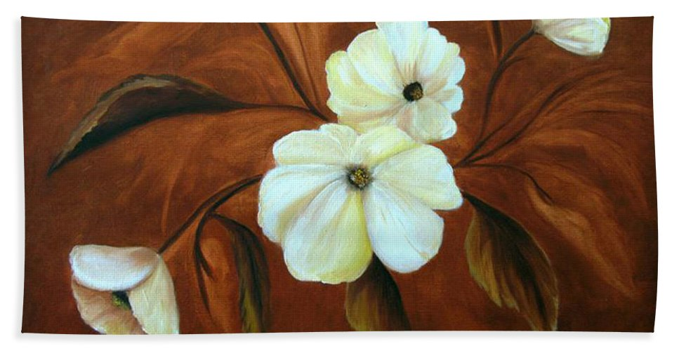 Flowers Hand Towel featuring the painting Flower Study by Carol Sweetwood