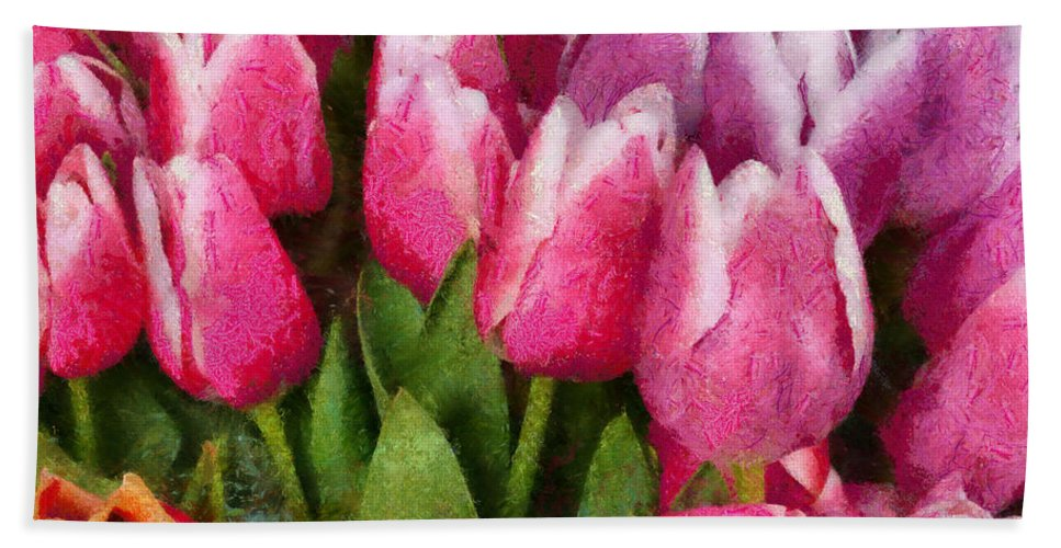 Flowers Bath Sheet featuring the photograph Flower - Tulip - A Young Girls Delight by Mike Savad